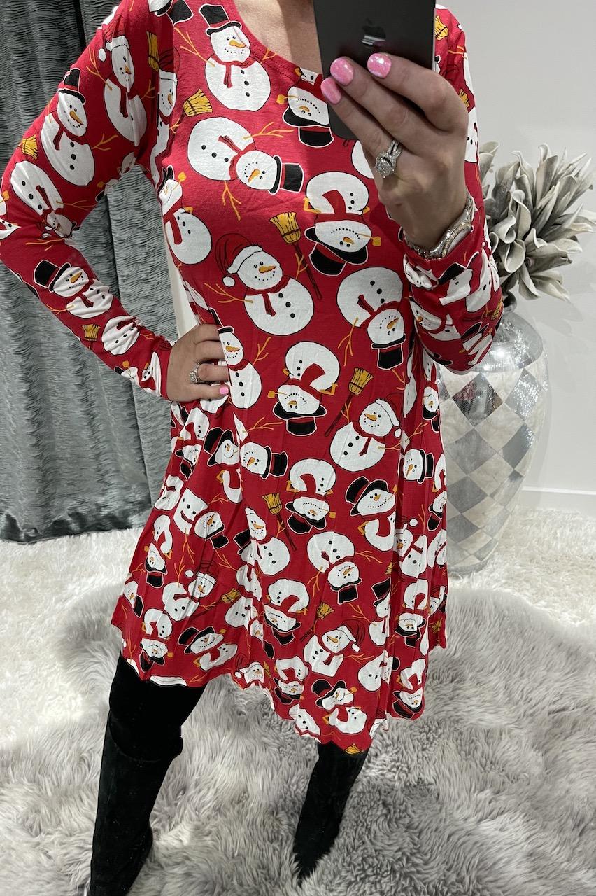 Red Snowman Hat Christmas Swing Dress.