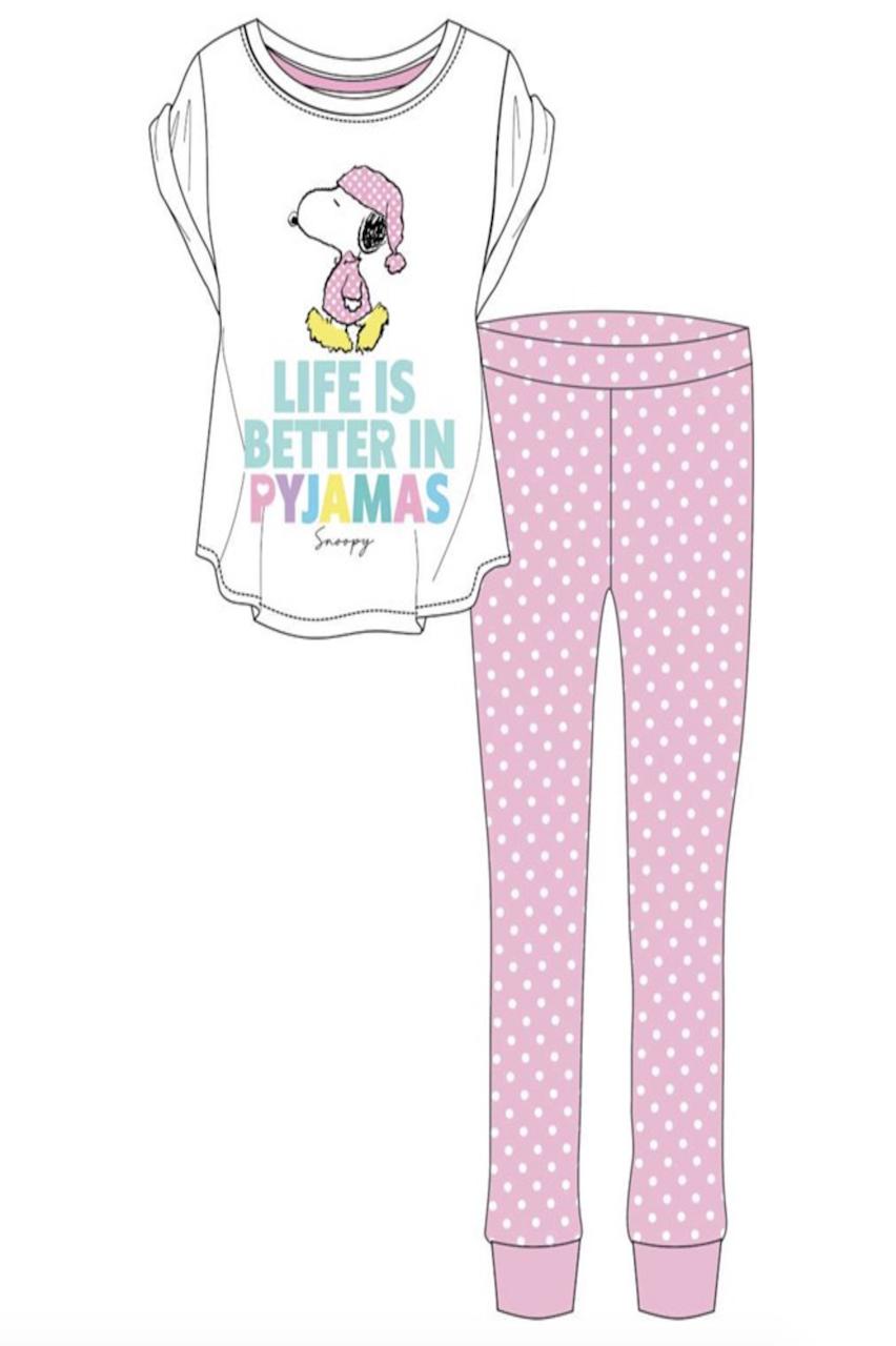 Ladies Pink Snoopy Life Is Better in PJ'S