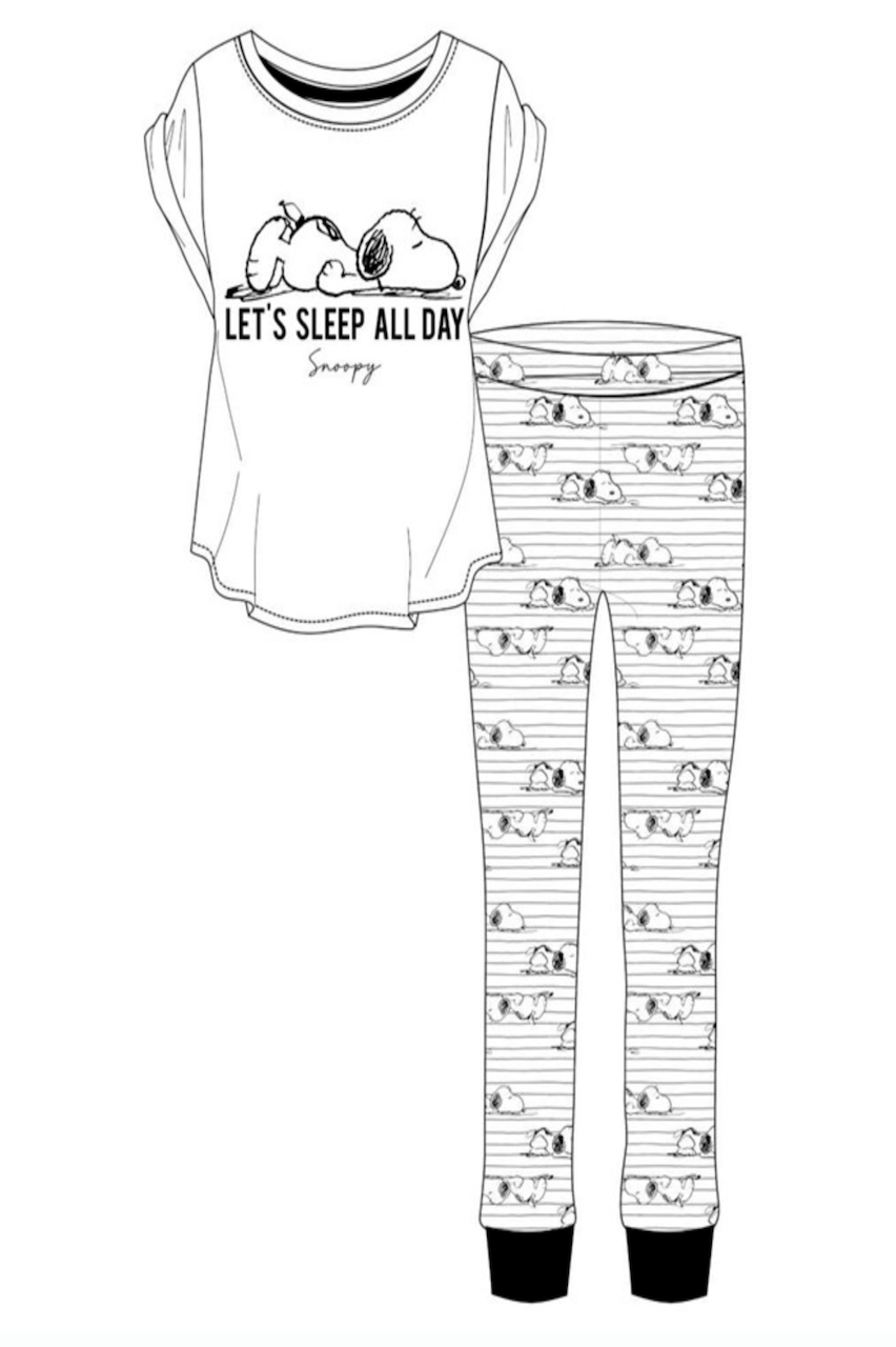 Ladies Black & White Snoopy Let's Sleep All day  PJ'S