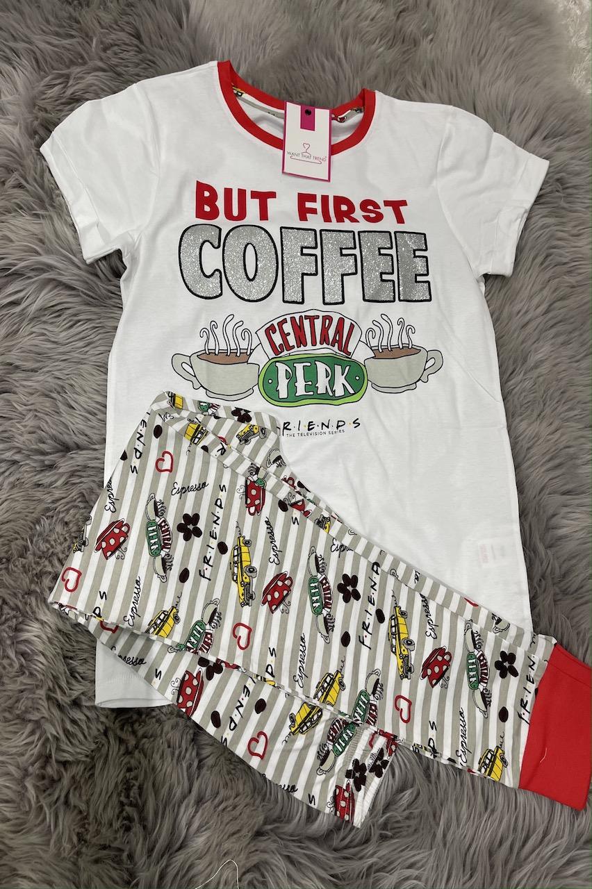 Ladies Friends But First Coffee  PJ'S