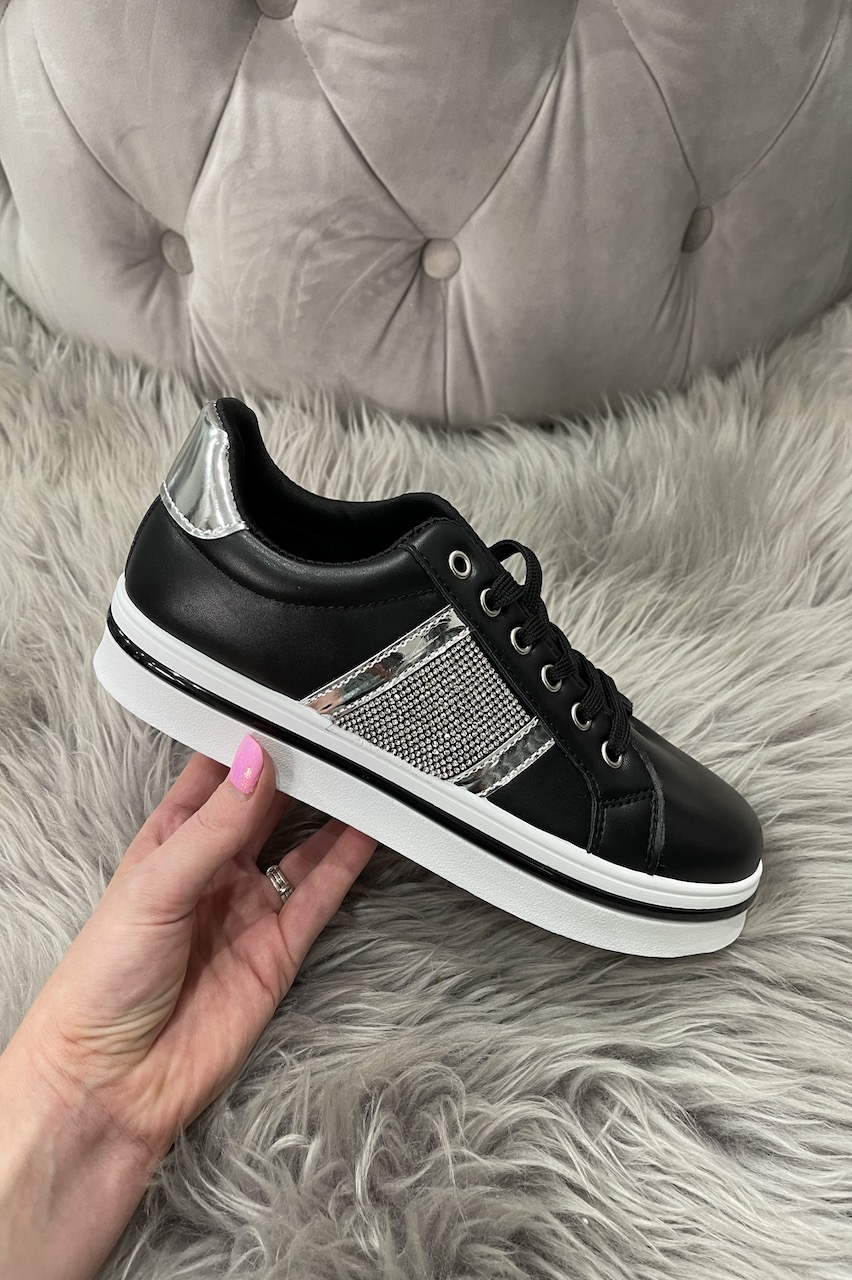 Fizette Black All Over  Diamond Trainers