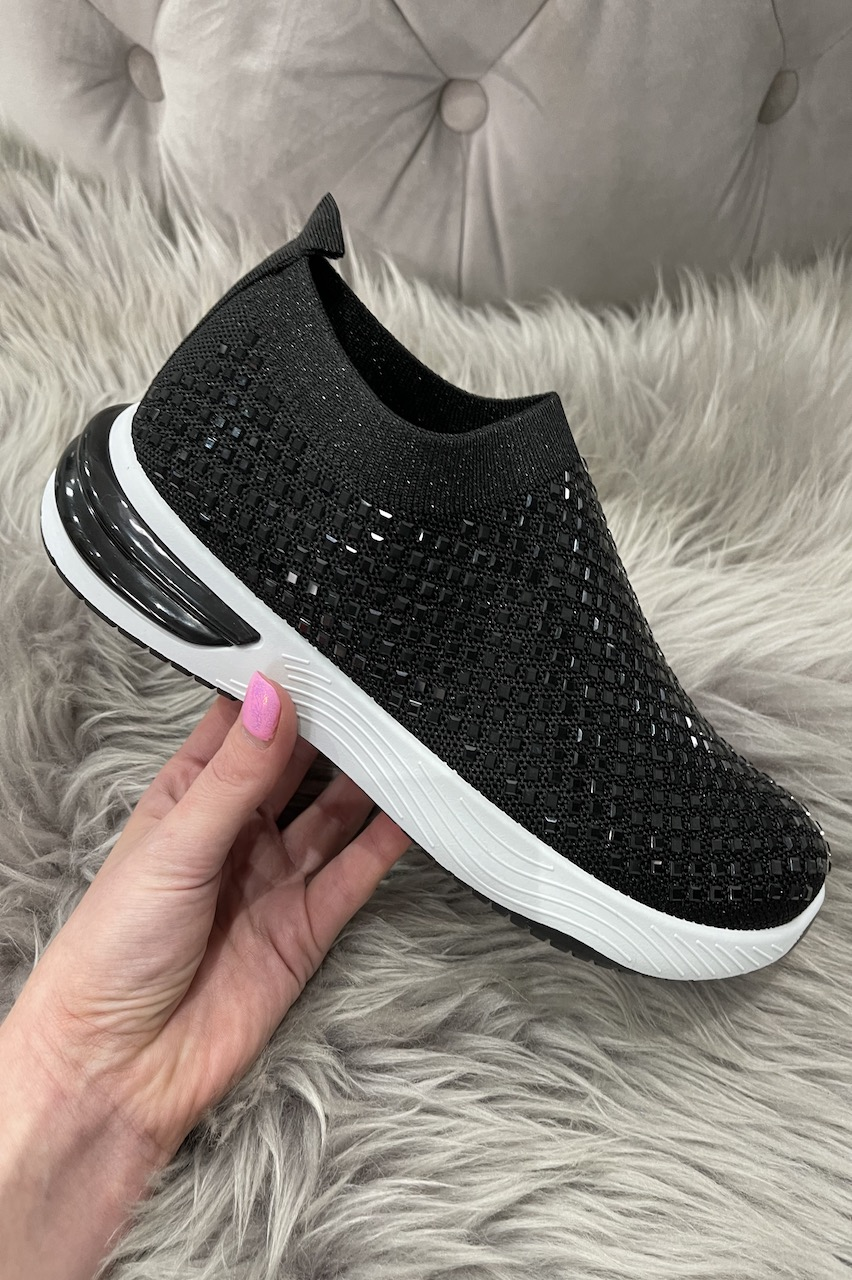 Jemm Black Sparkle Slip On Trainers