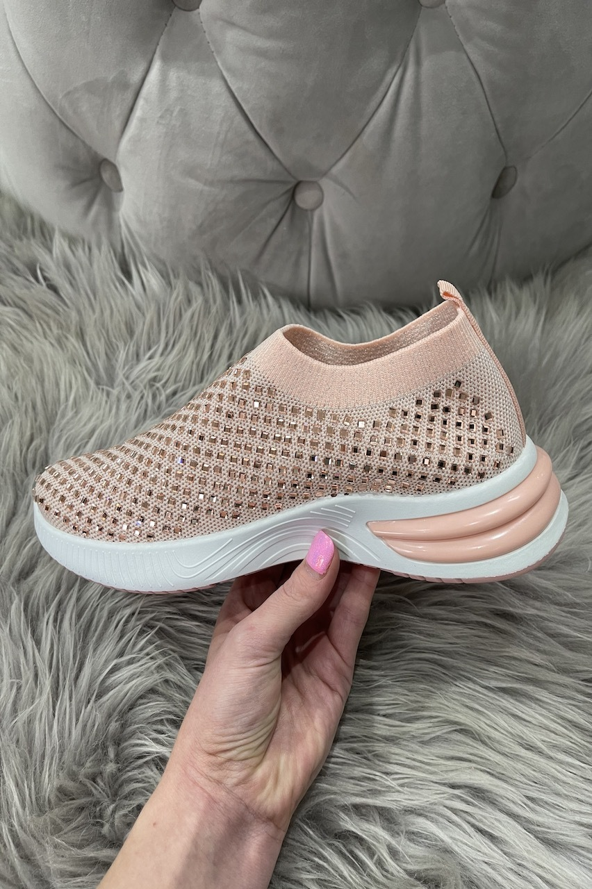 Jemm Pink  Sparkle Slip On Trainers