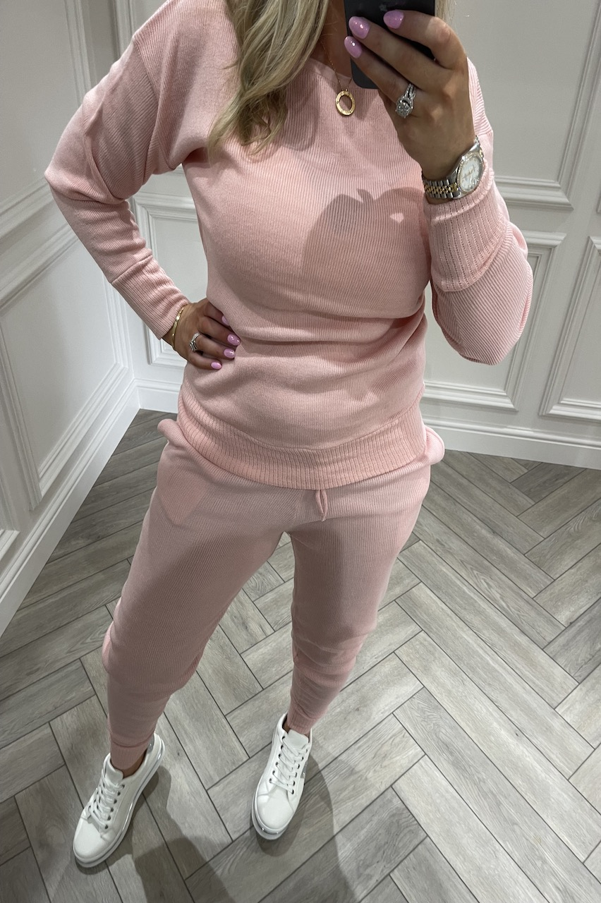 Pink Cosy Knitted  Loungesuit