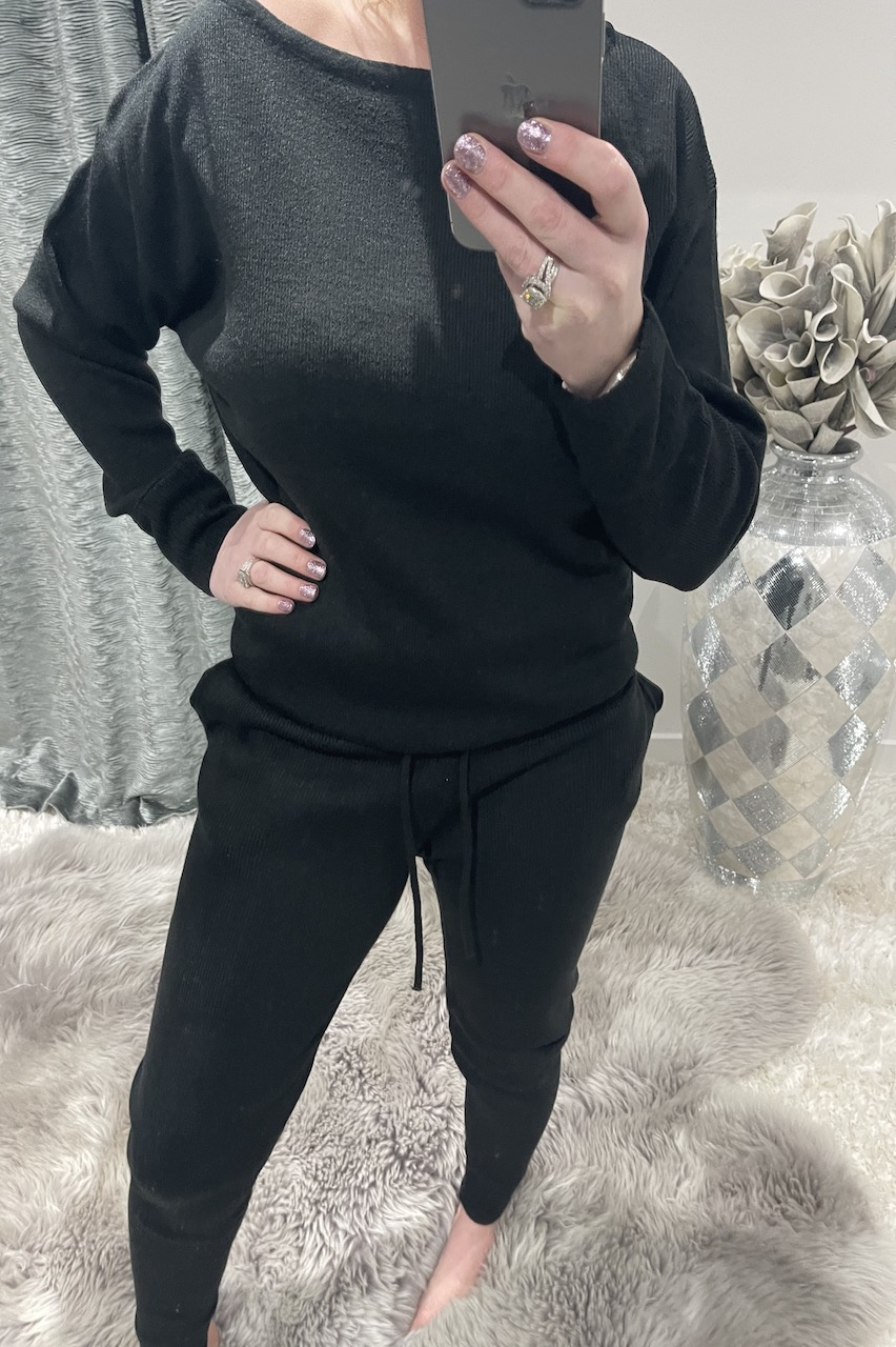 Black Cosy Knitted  Loungesuit