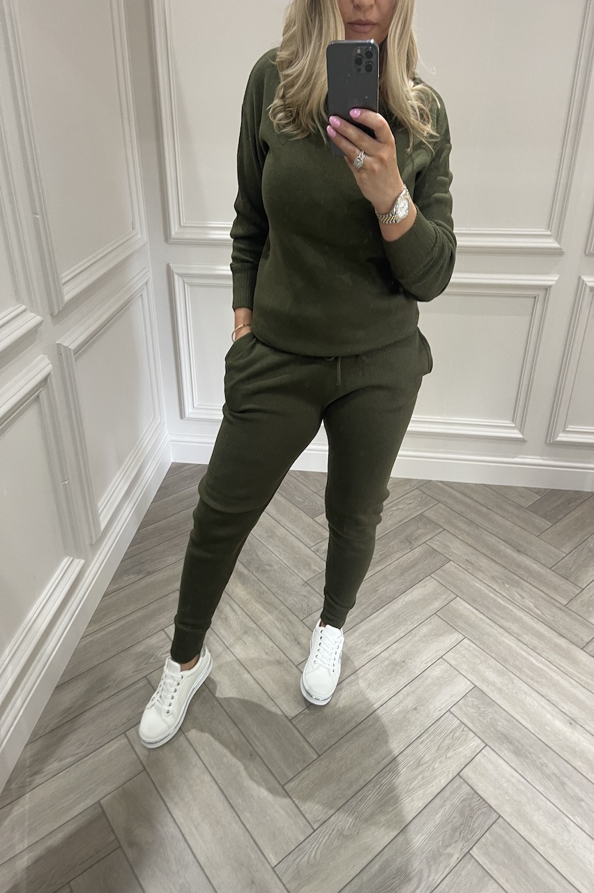 Khaki Cosy Knitted  Loungesuit