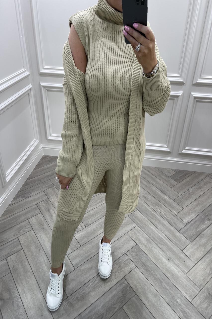 Stone Royal 3 Piece Cable Knit Loungesuit