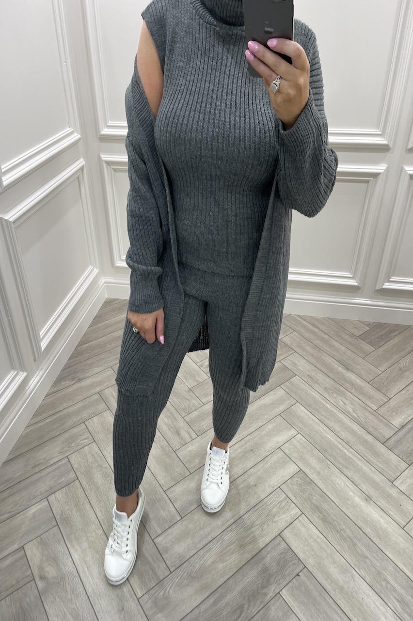 Charcoal  Royal 3 Piece Cable Knit Loungesuit