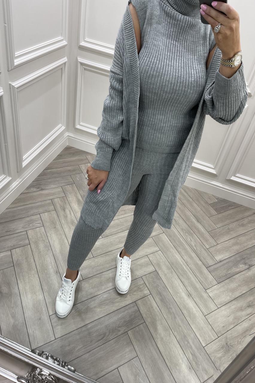 Grey Royal 3 Piece Cable Knit Loungesuit