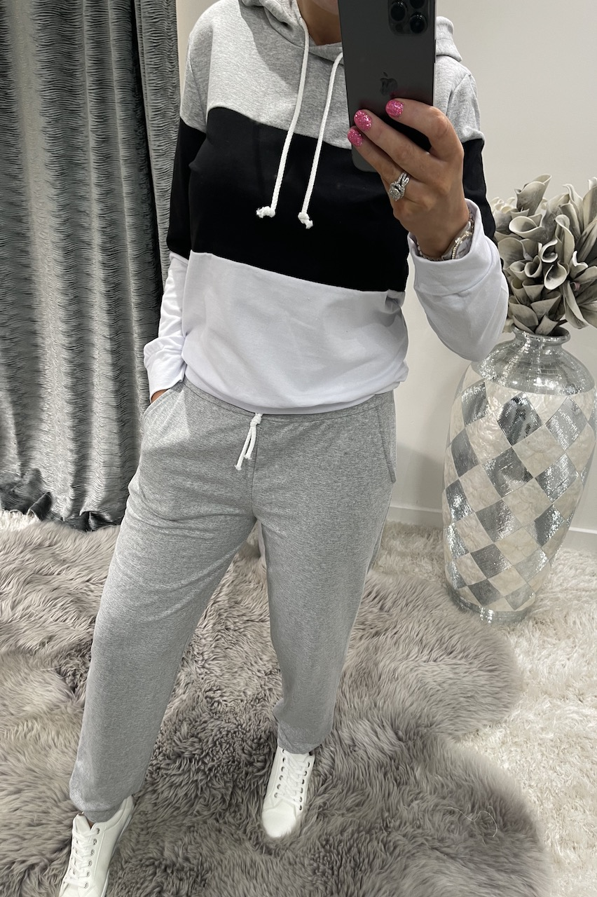 Black, Grey & White Colour Block Loungesuit
