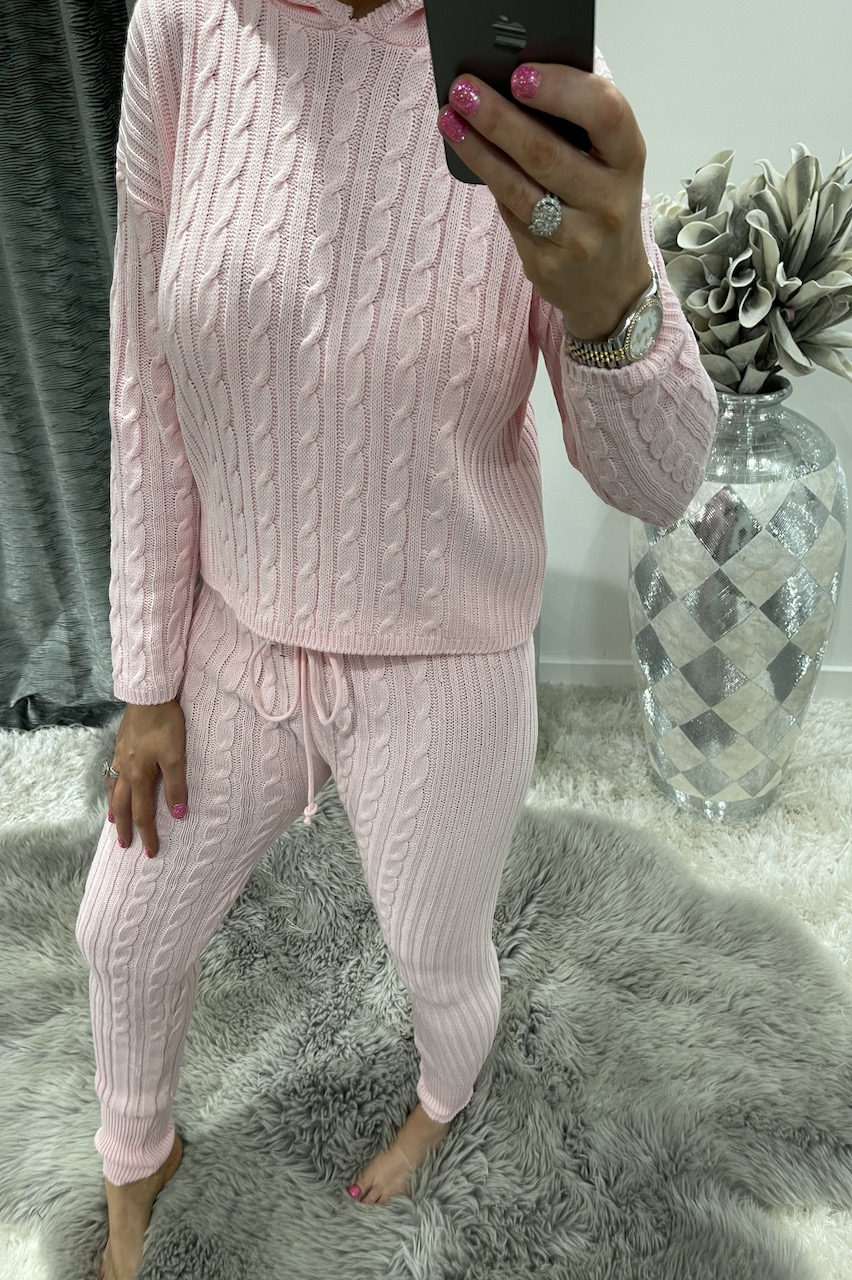 Pink Winter Luxury Cable Knit Loungesuit