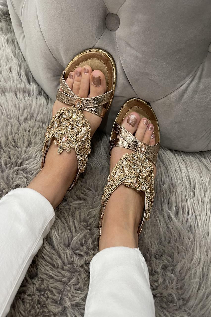 Gold Orson Flower  Diamond Sandals