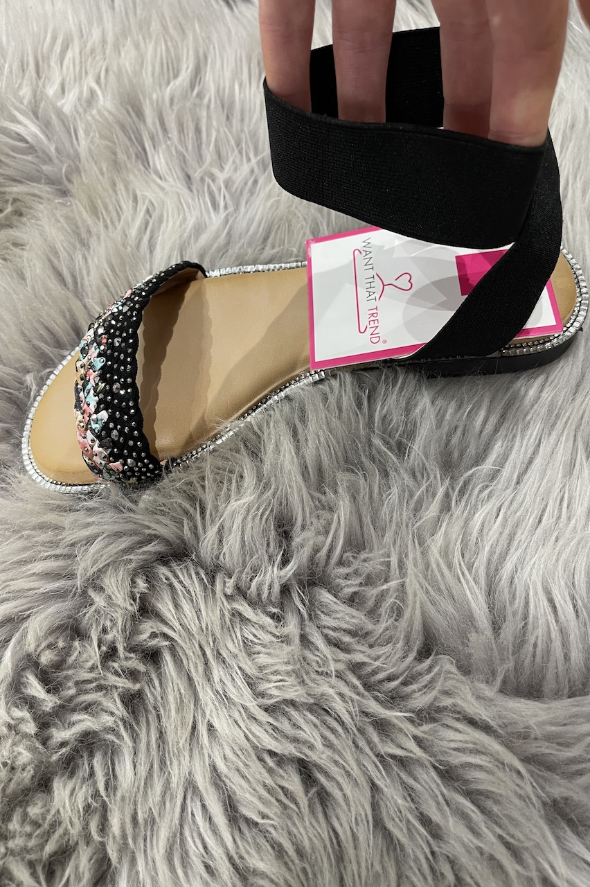 Orion Black Embellished Sandals