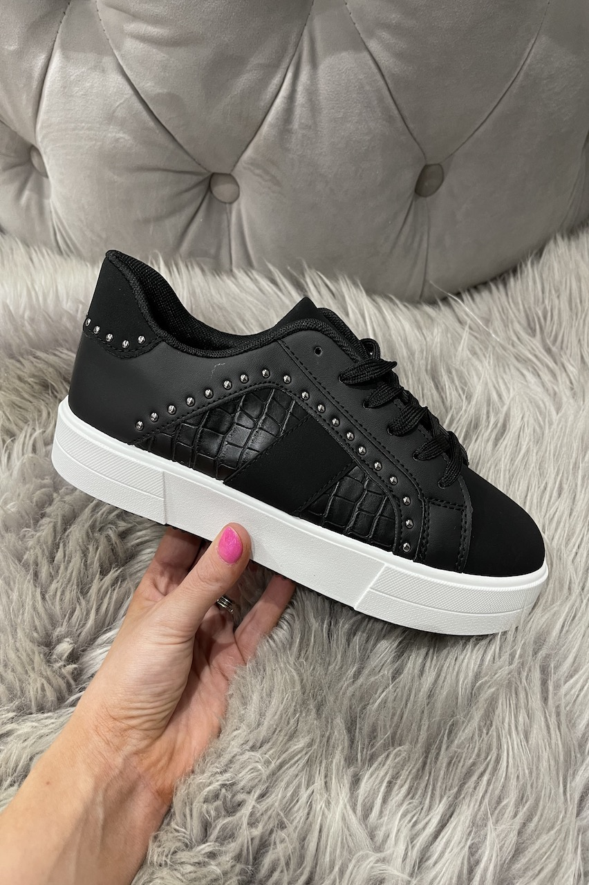 Jeo Black Studded Croc Trainers
