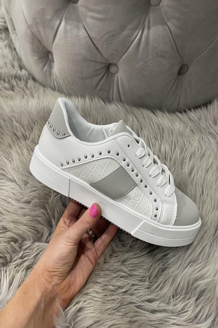 Jeo Grey Studded Croc Trainers