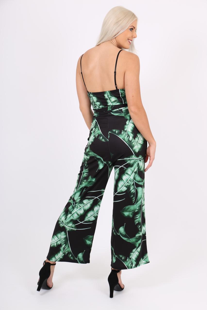 Tropical Leaf Wide Leg Jumpsuit
