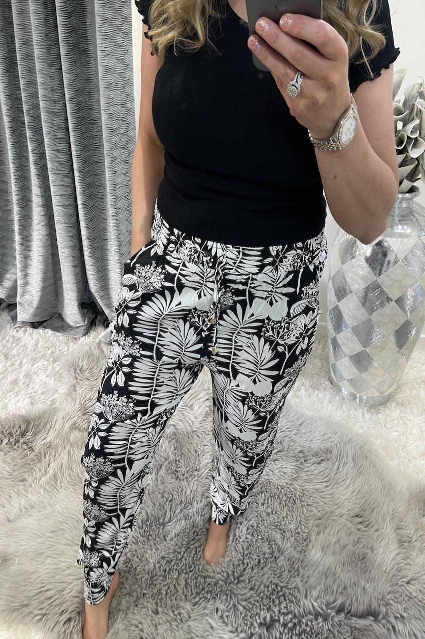 Ebony Black  Floral Trousers