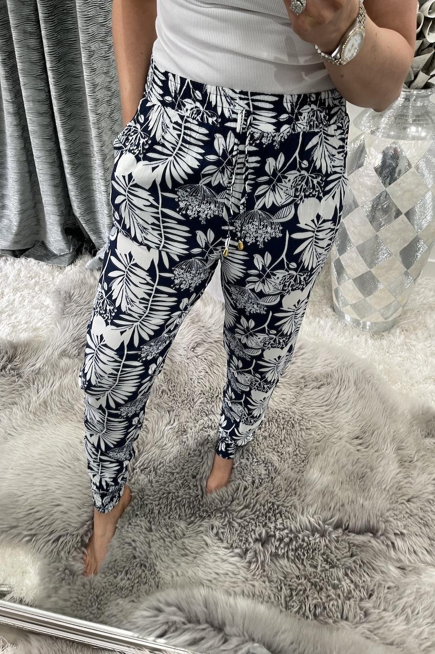 Ebony Navy Floral Trousers