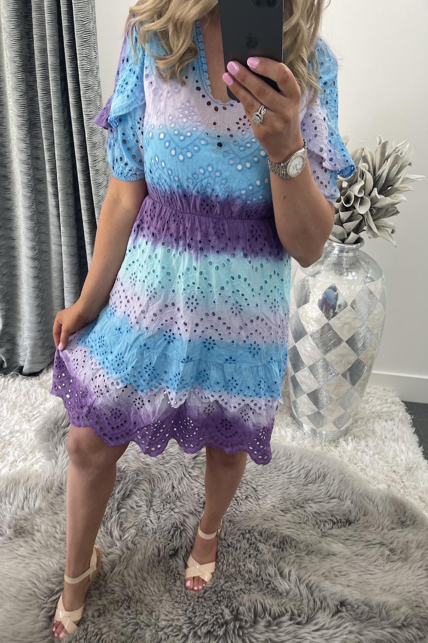 Jasmine Purple, Blue & Lilac Crochet Dress