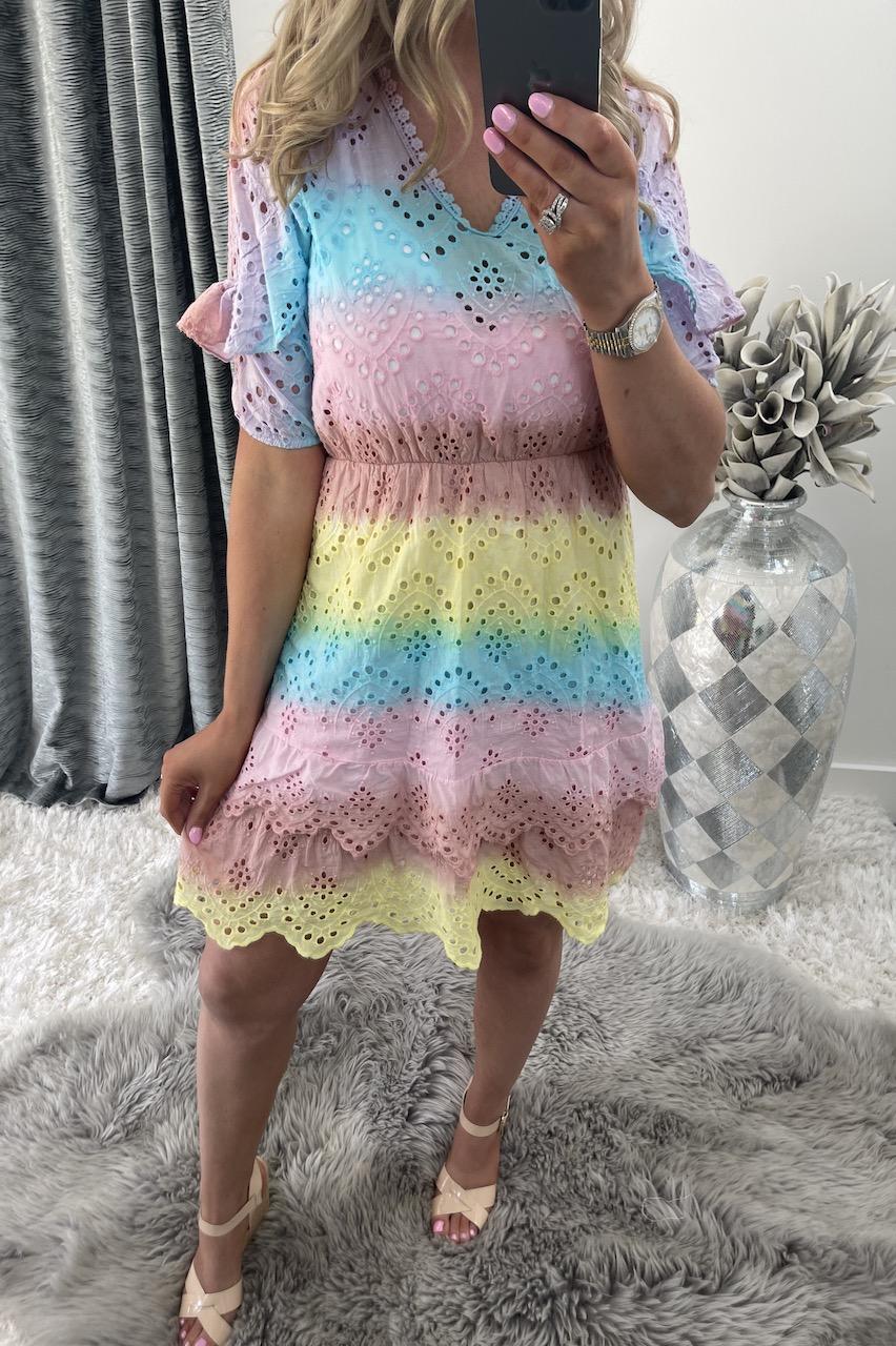 Jasmine Pink, Blue & Yellow Crochet Dress