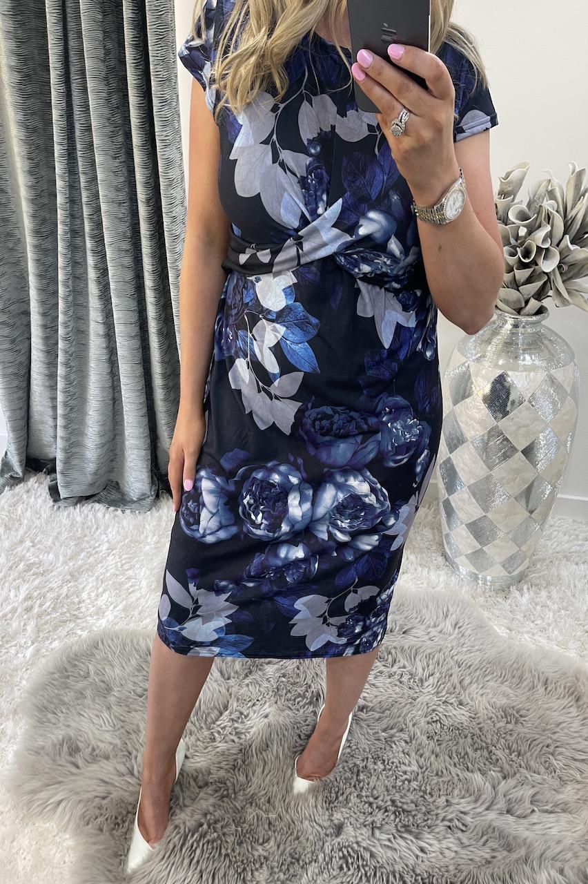 Black and Blue  Nahla Twist Front Floral Midi Dress
