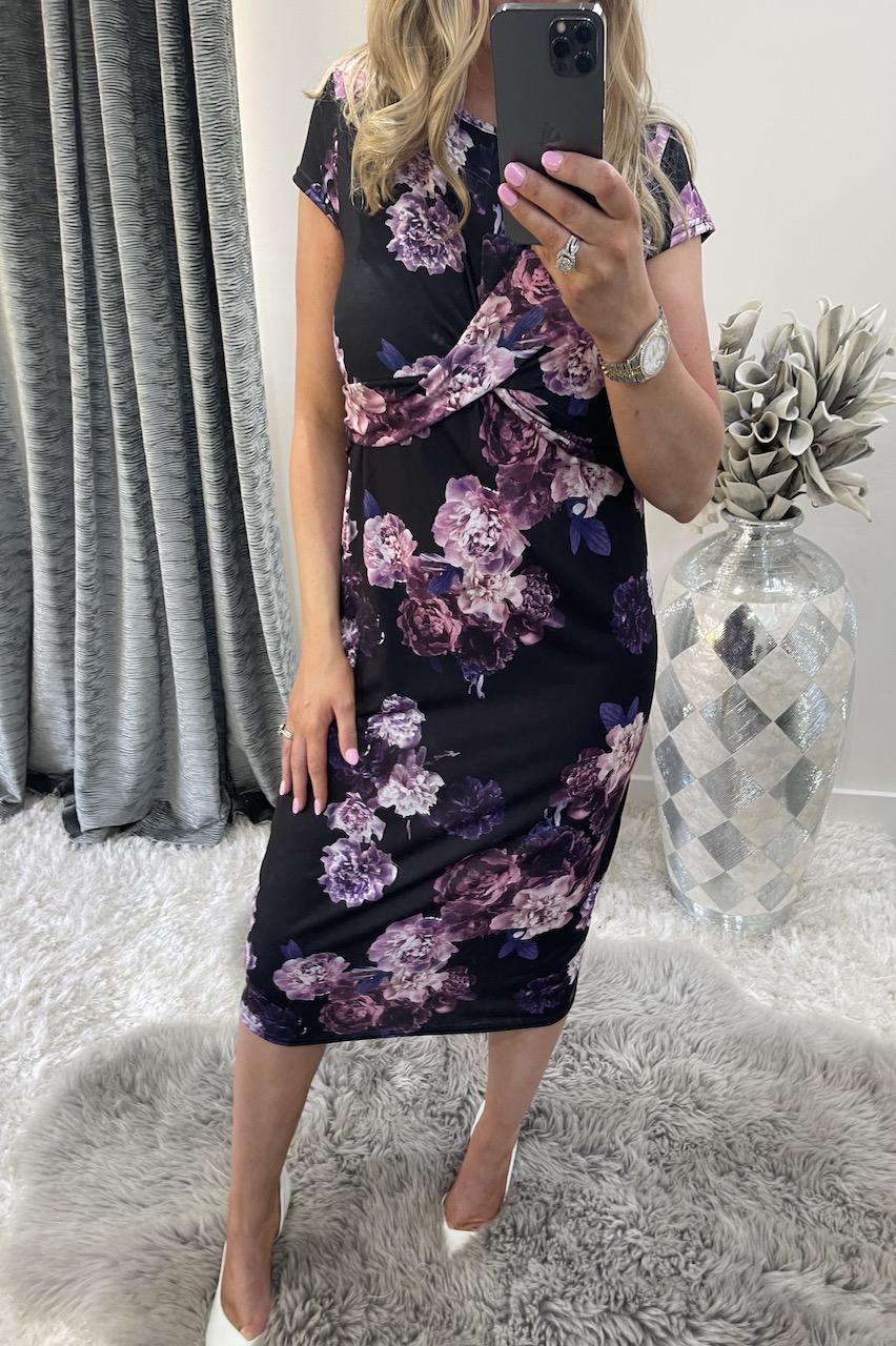 Black Nahla Twist Front Detailed Floral Midi Dress