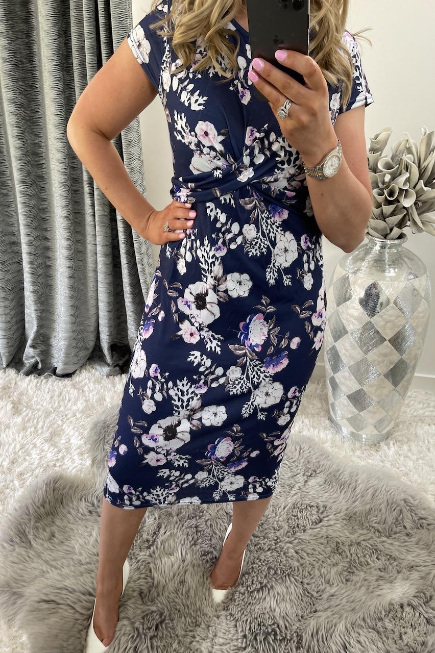 Floral Cap Sleeve Twist Front Detailed Midi Dress