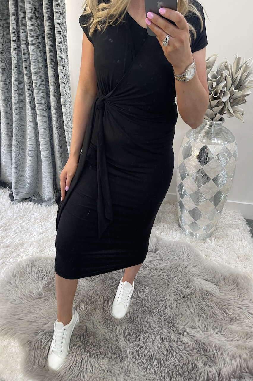 Black Tie Front Midi Dress