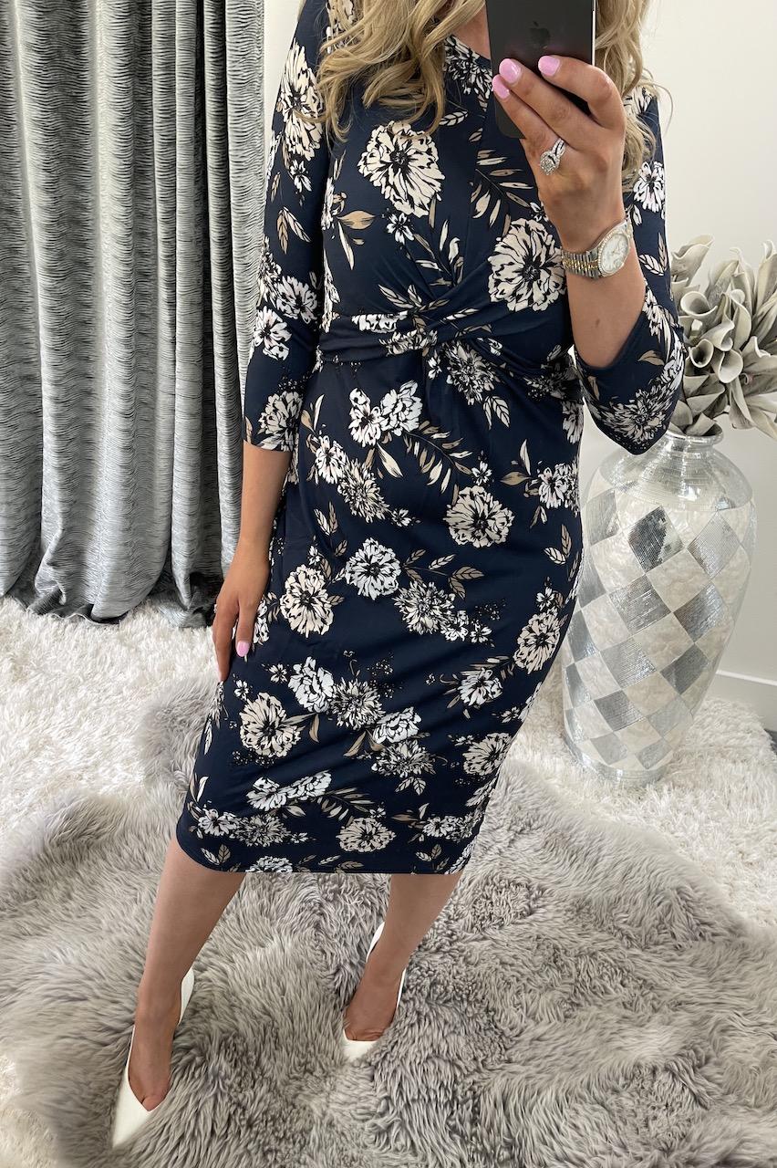 Navy Agnes Twist Front Floral Midi Dress