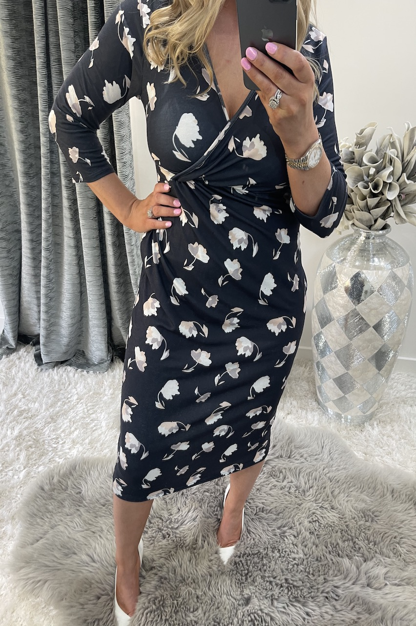 Neave Wrap Over Floral Midi Dress