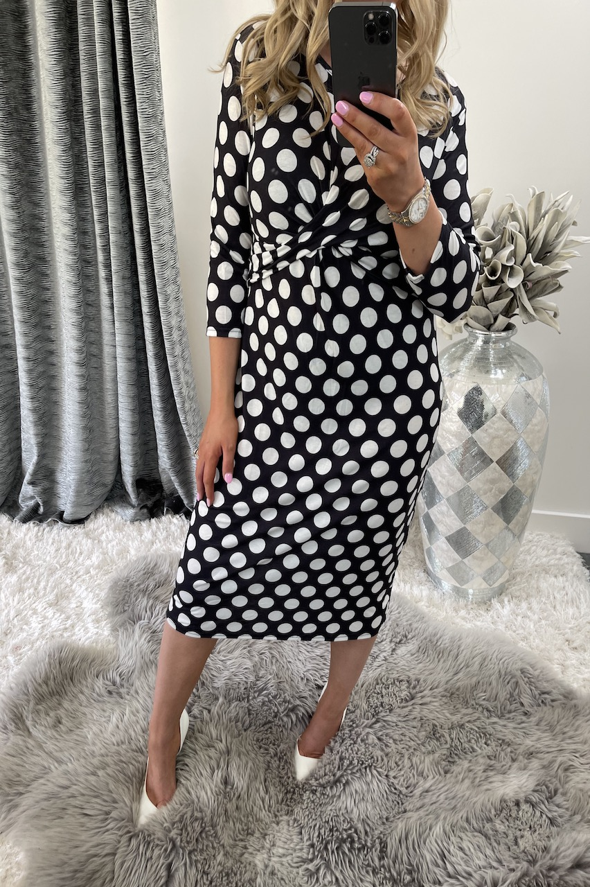 Black Polka Dot Twist Front Bodycon Dress