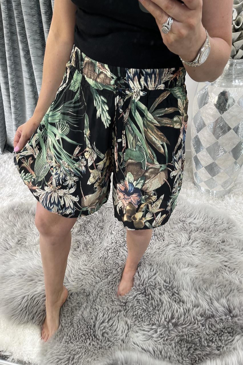 Balia Black Floral  Shorts