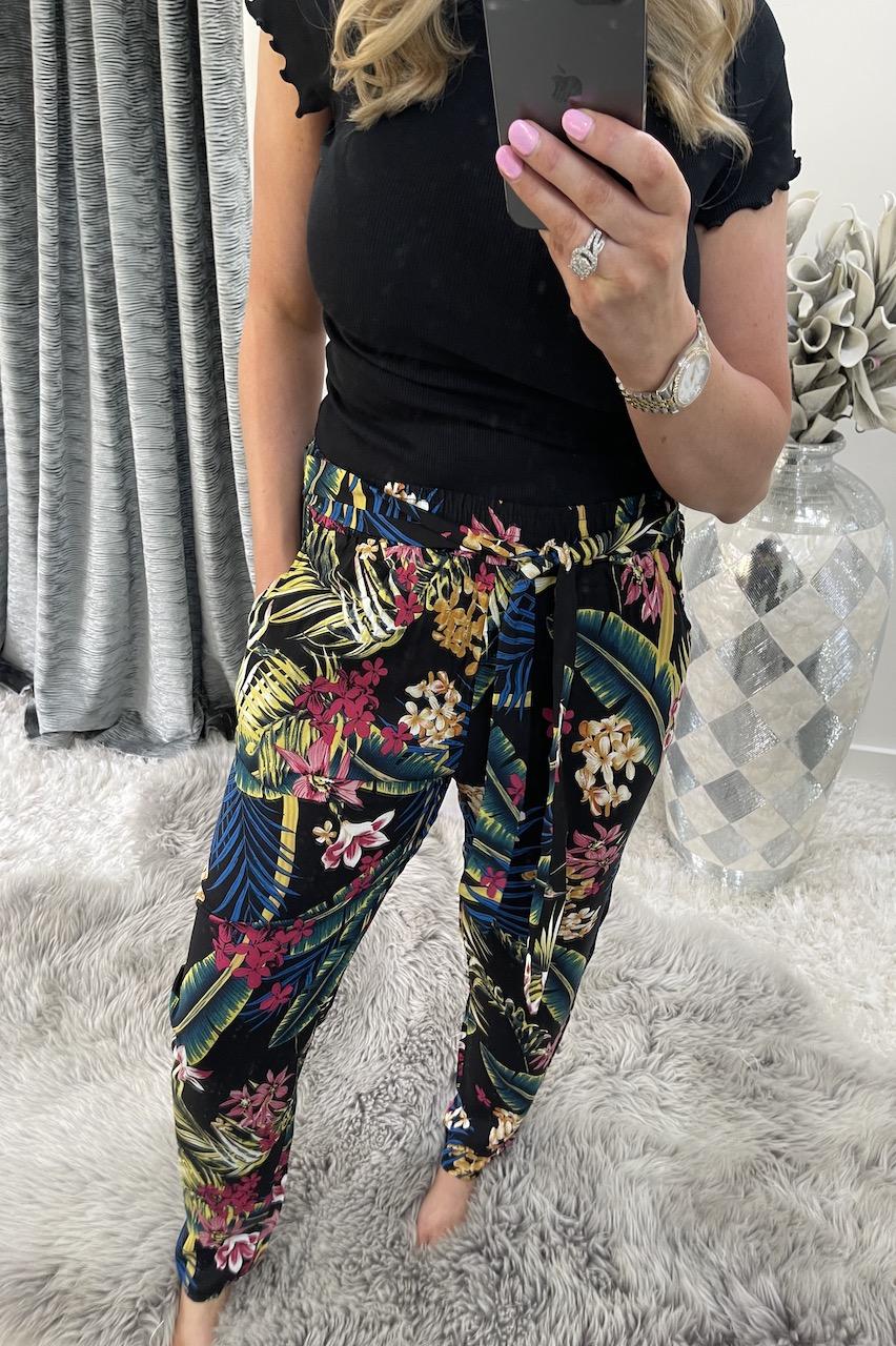 Savannah Black Floral Trousers