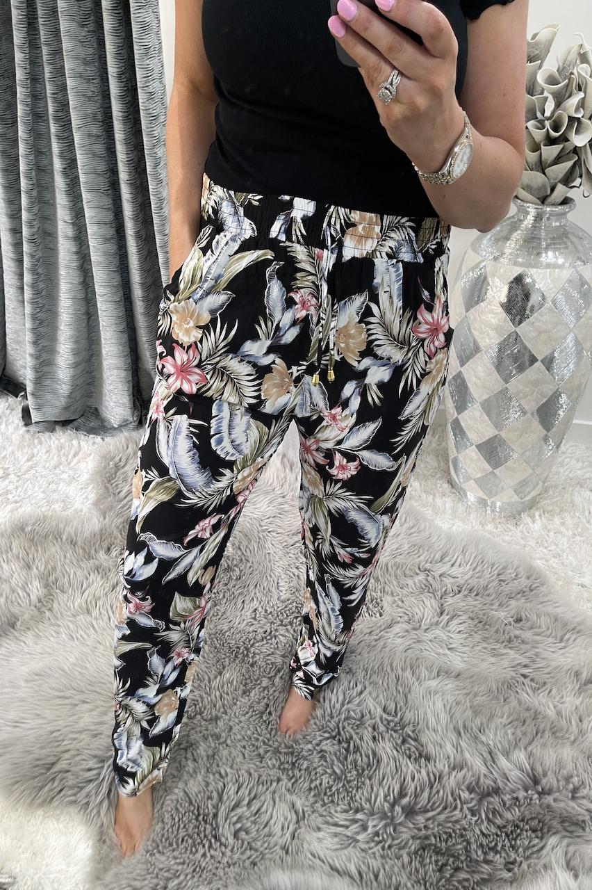 Moreia Black Floral Trousers