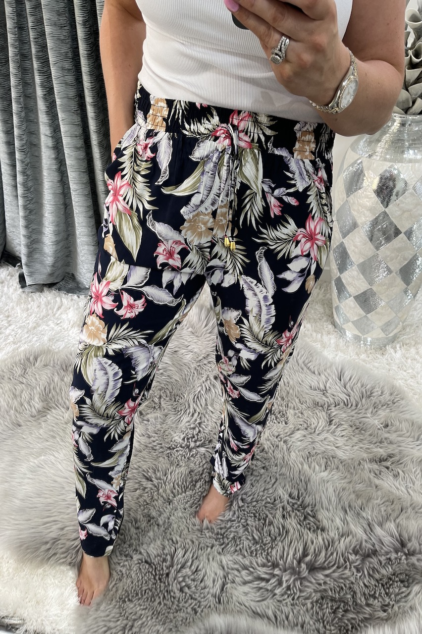 Moreia Navy Floral Trousers