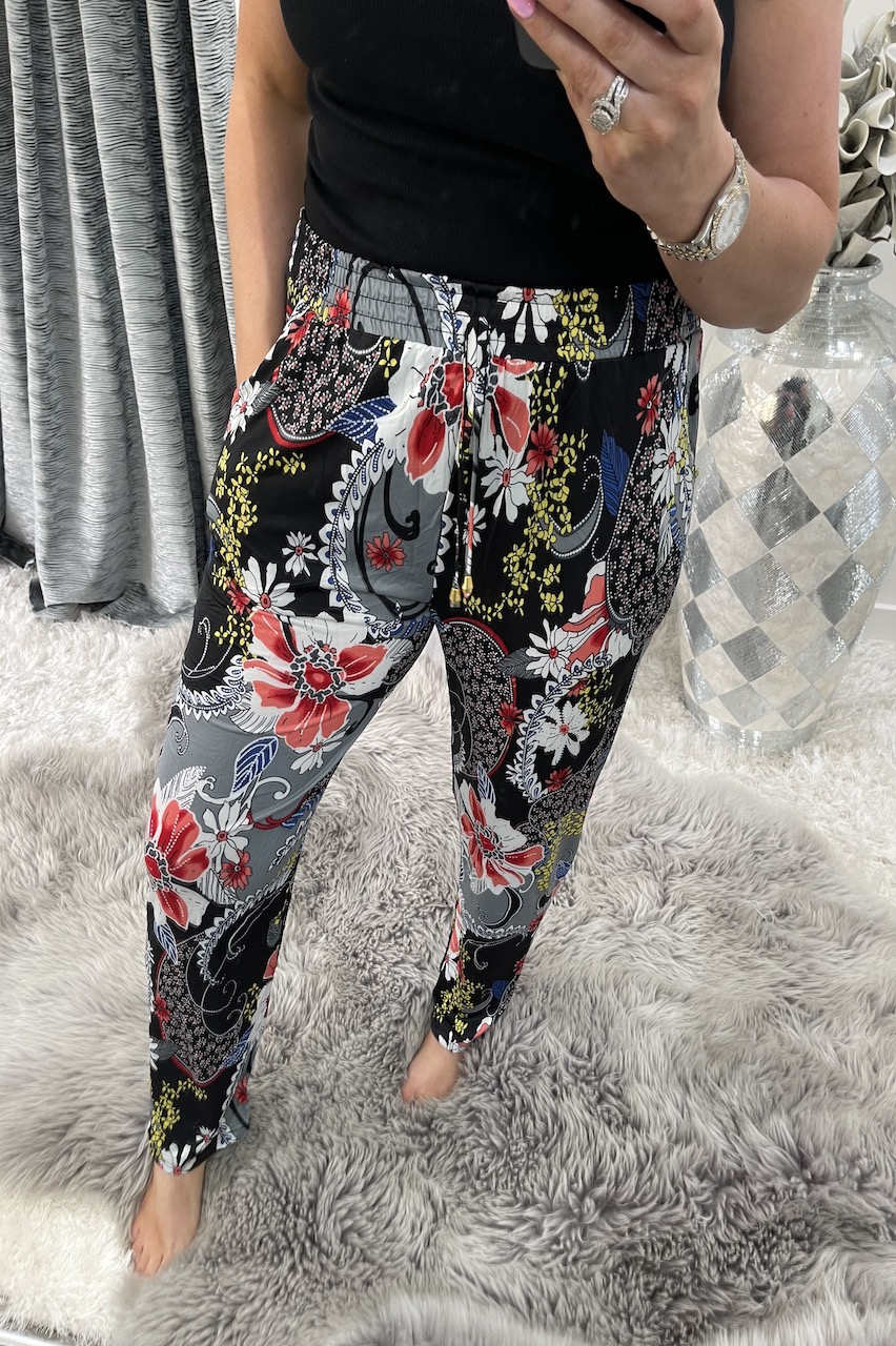 Patchwork Black Floral Trousers