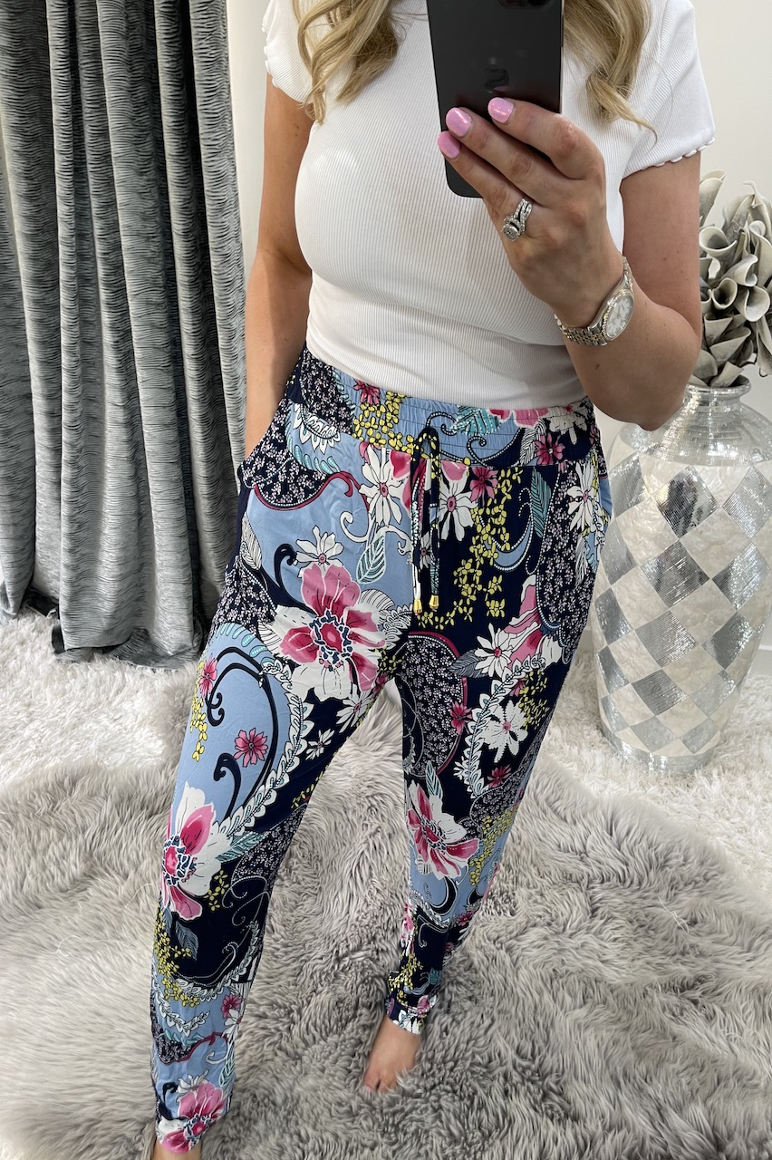 Patchwork Navy Floral Trousers