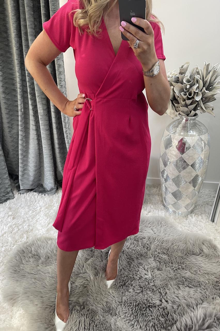 Pink Short Sleeve Wrap Over Belted Dress