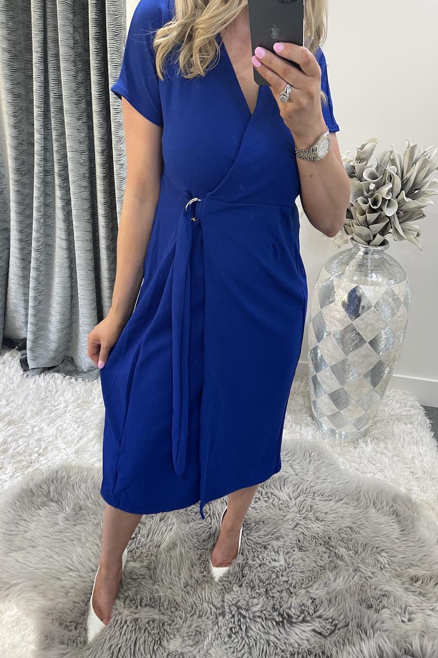 Colbolt Blue Short Sleeve Wrap Over Belted Dress