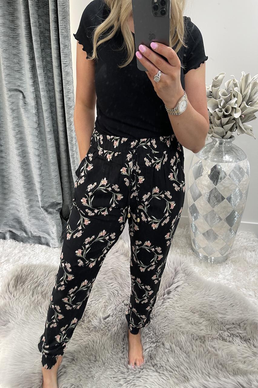 Kinda Black Floral Trousers