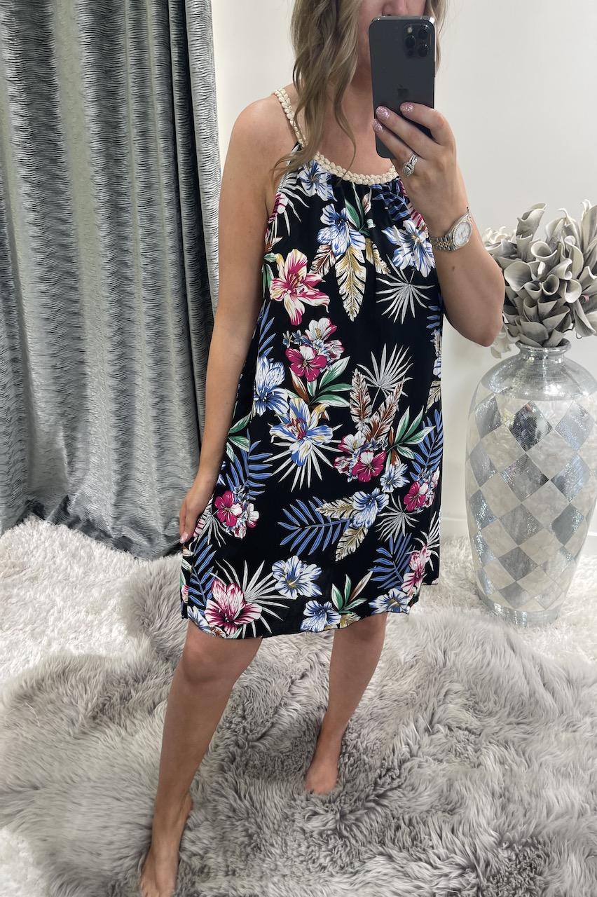 Black Brady Floral Tunic Dress