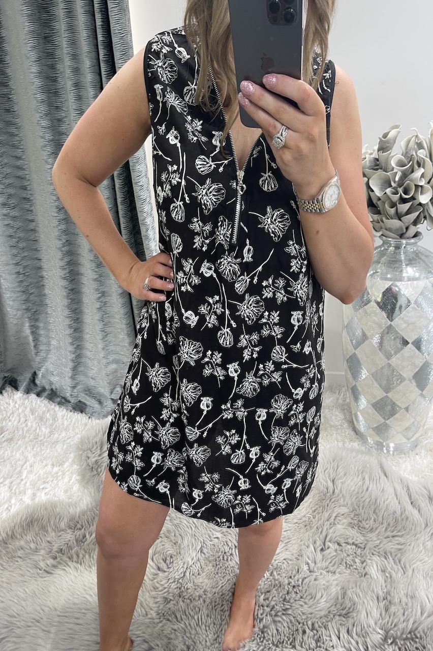 Black Amelia  Zip Floral Tunic Dress