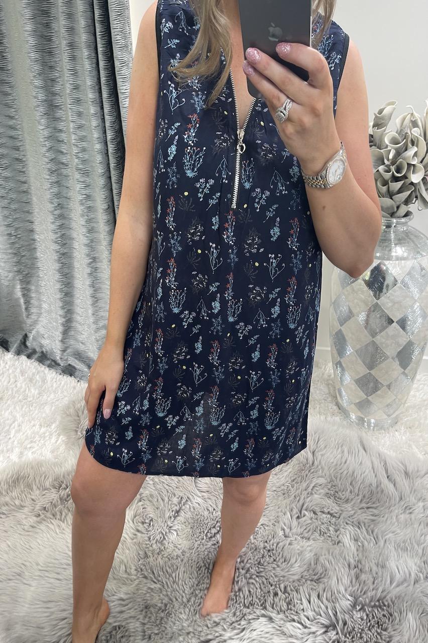 Navy Amelia  Zip Floral Tunic Dress