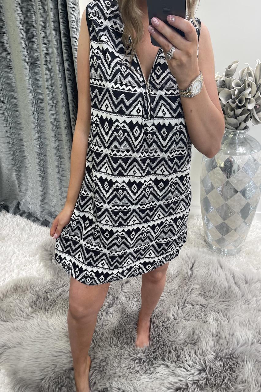Black Aztec Amelia  Zip Tunic Dress