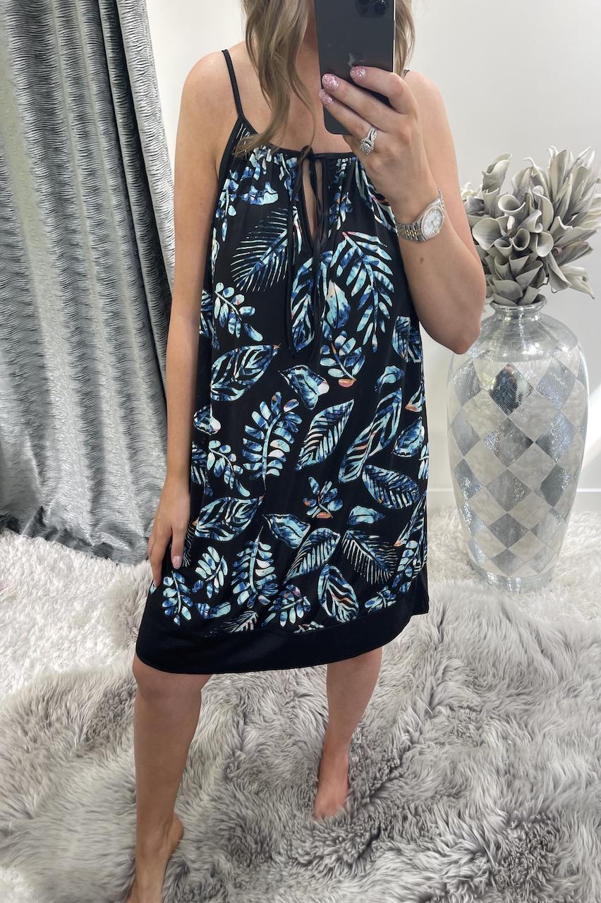 Black Kenya Leaf Tunic Dress