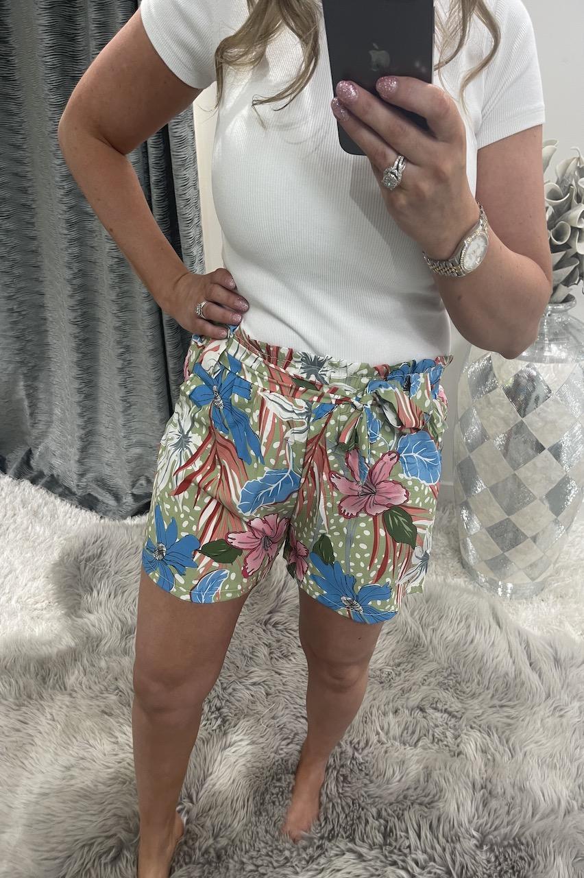 Krystal Khaki Floral Shorts