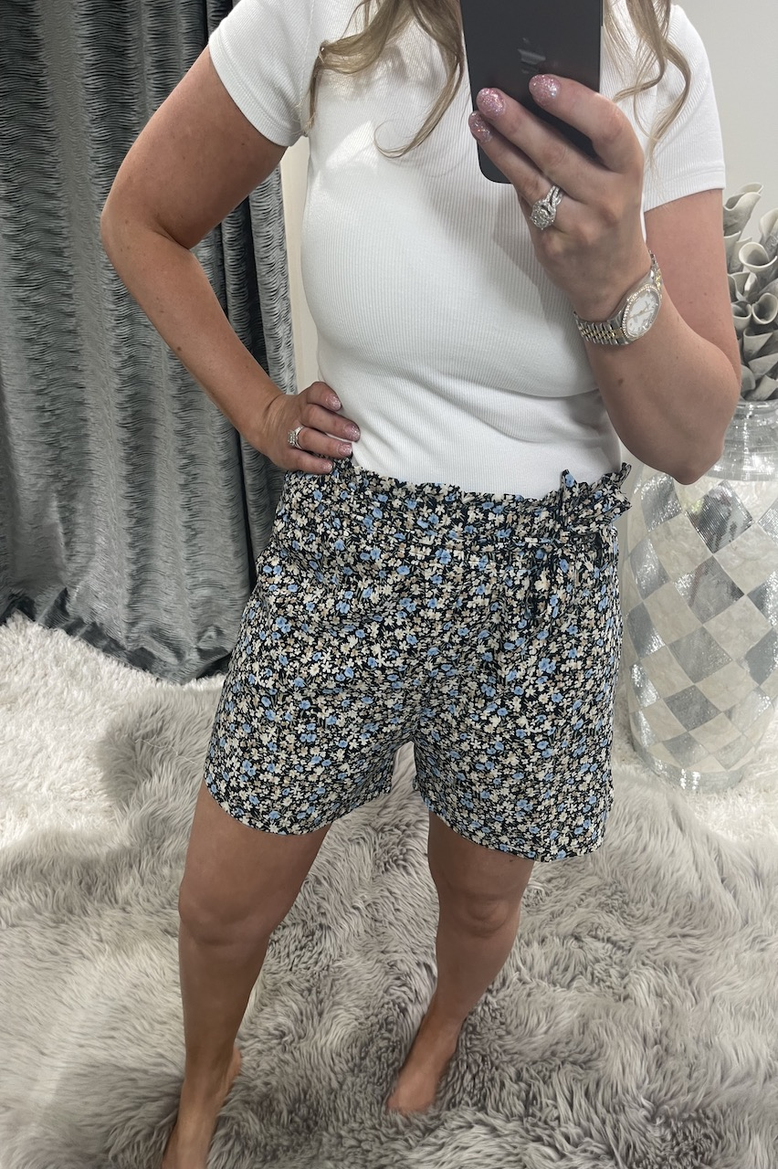 Cherrie Navy Floral Shorts