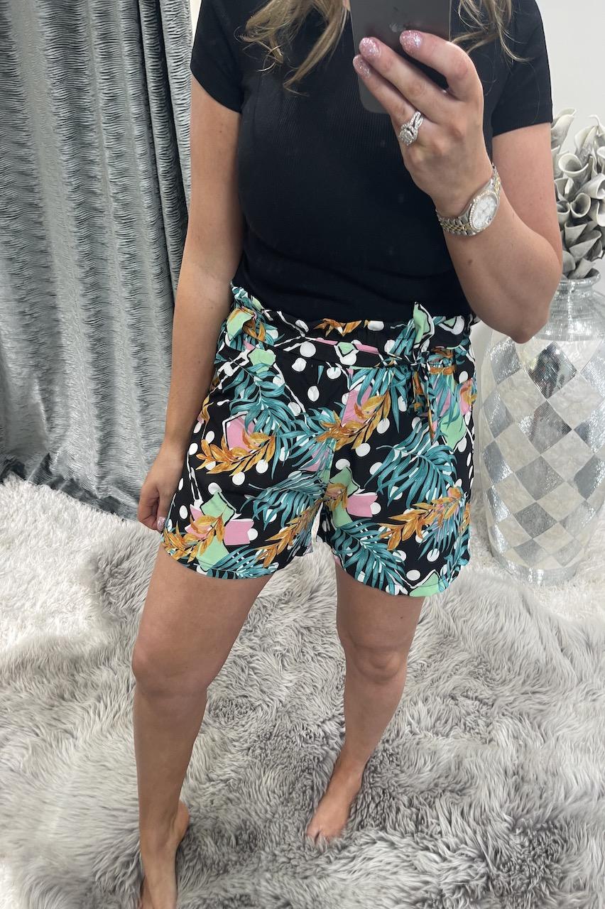 Jackie Black Floral Polka Dot Shorts
