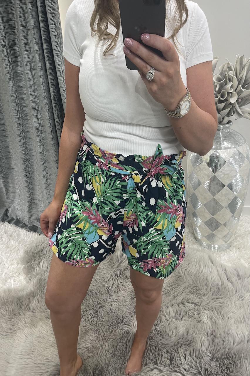 Jackie Navy Floral Polka Dot Shorts