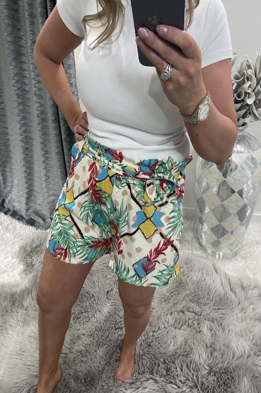 Jackie White Floral Polka Dot Shorts